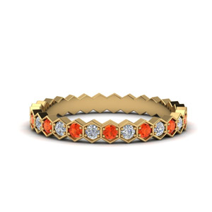 Hexagon Orange Topaz Eternity Band