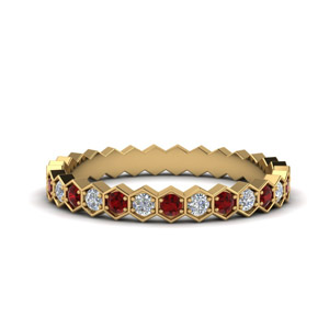 Hexagon Ruby Eternity Band