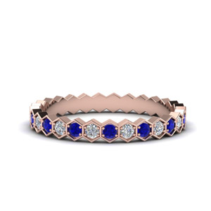 Hexagon Diamond Eternity Sapphire Band