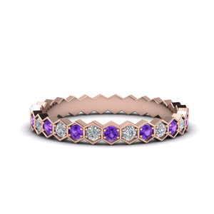 Hexagon Eternity Band With Purple Topaz