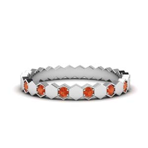 Hexagon Orange Topaz Band