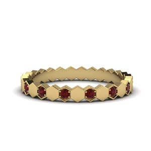 Hexagon Ruby Wedding Band