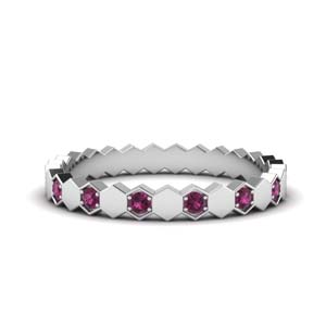 Pave Set Pink Sapphire Eternity Band