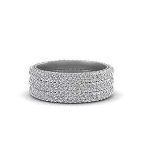 Platinum Diamond Pave Stack Band