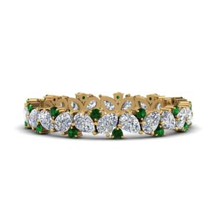 Pear Eternity Band With Emerald