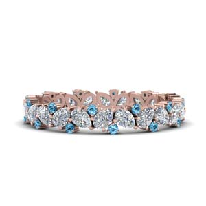 Blue Topaz Pear Eternity Band