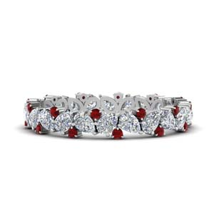 Pear Eternity Band With Ruby