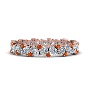 Pear Cut Orange Sapphire Band