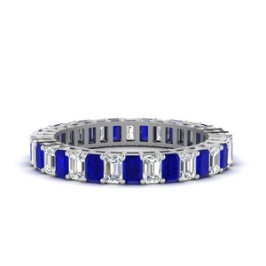 Baguette Eternity Diamond Band With Sapphire