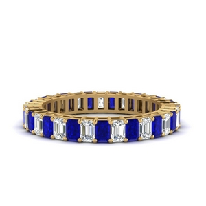 baguette diamond and sapphire eternity band in 14K yellow gold FDEWB9293EMGSABL NL YG