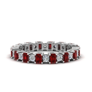 Platinum Eternity Band With Ruby