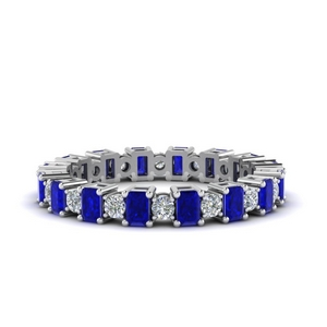 Baguette & Round Sapphire Eternity Band