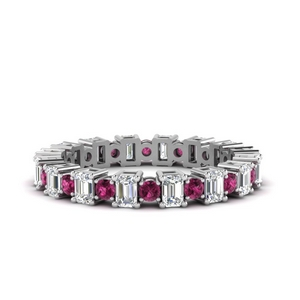 Pink Sapphire Alternating Eternity Band