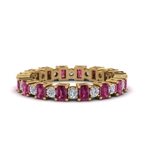 2 Ct. Art Deco Pink Sapphire Band
