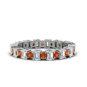 2 Ct. Orange Sapphire Eternity Band