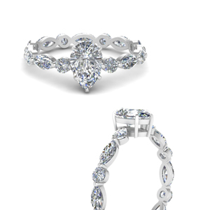 Pear Shaped Diamond Side Stone Ring