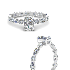 Radiant Cut Moissanite Side Stone Ring