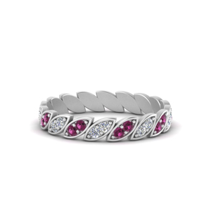 Art Deco Pink Sapphire Eternity Band