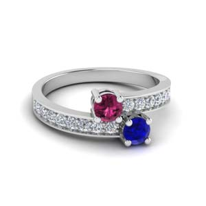 sapphire 2 stone pave wedding ring in 14K white gold FDFR5090RORGBSPS NL WG