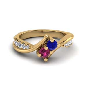 crossover 2 stone sapphire wedding ring in 14K yellow gold FDFR5094RORGBSPS NL YG