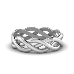 braided gold wedding ring in 14K white gold FDHM342MB NL WG