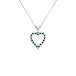 Emerald Platinum Heart Pendant