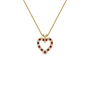 stunning diamond heart pendant for women with ruby in FDHPD200WDGRUDR NL YG