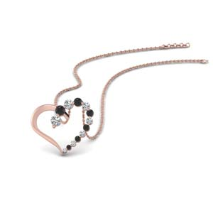 Open Heart Pendant With Black Diamond