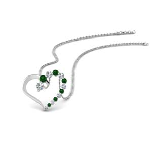 Open Heart Emerald Pendant Gift