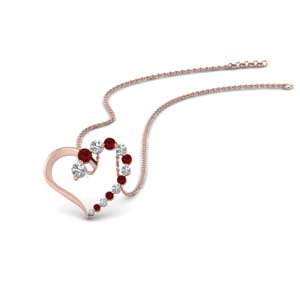 Ruby Graduated Diamond Necklace For Her