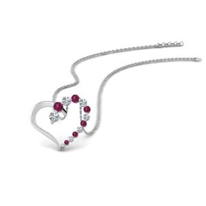 Heart Pendant With Pink Sapphire