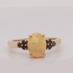 Oval Opal And Champagne Diamond Cluster Ring