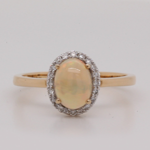 Simple Halo Opal Wedding Ring