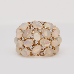 Opal Cluster And Diamond Ring