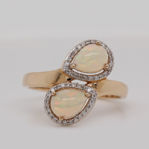 2 Stone Pear Cut Opal Ring
