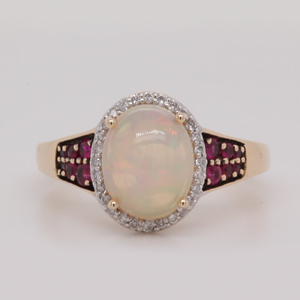 Opal Halo Engagement Ring