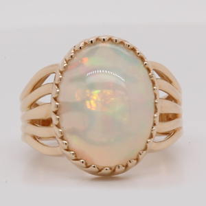 Oval Opal Retro Era Solitaire Ring