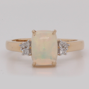Opal Cushion Cut And Diamond Cluster Ring