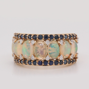 Opal And Sapphire Wedding Band