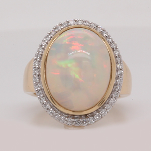 Oval Opal Diamond Halo Ring