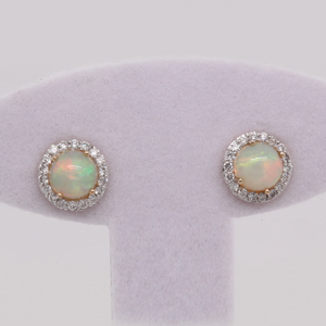 Round Shape Opal Halo Earrings