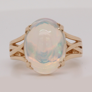 Oval Opal Twisted Solitaire Engagement Ring