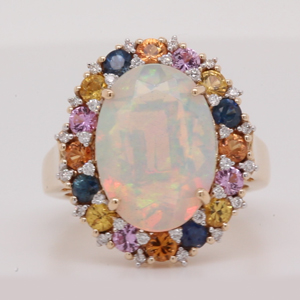 Opal Sapphire And Diamond Halo Ring