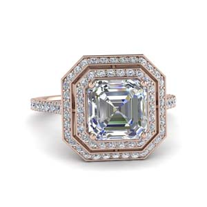 2.50 Ct. Double Halo Asscher Cut Ring