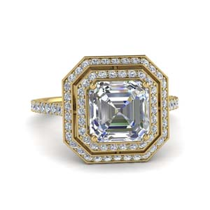 Double Halo Asscher Diamond Ring 2.50 Ct.