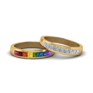 Rainbow With Diamond Bands For Couples