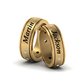 personalized gay wedding band with diamonds in FDLG8298BANGLE2 NL YG