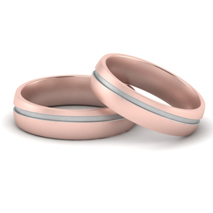 2 Tone Grooved Gay Wedding Bands