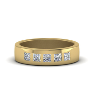 Flush Set Diamond Mens Band
