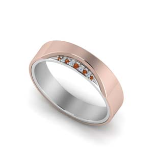 18K Rose Gold Orange Sapphire Band